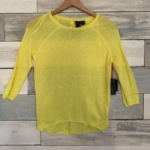 Cynthia Rowley   Linen Blend Sweater   Yellow